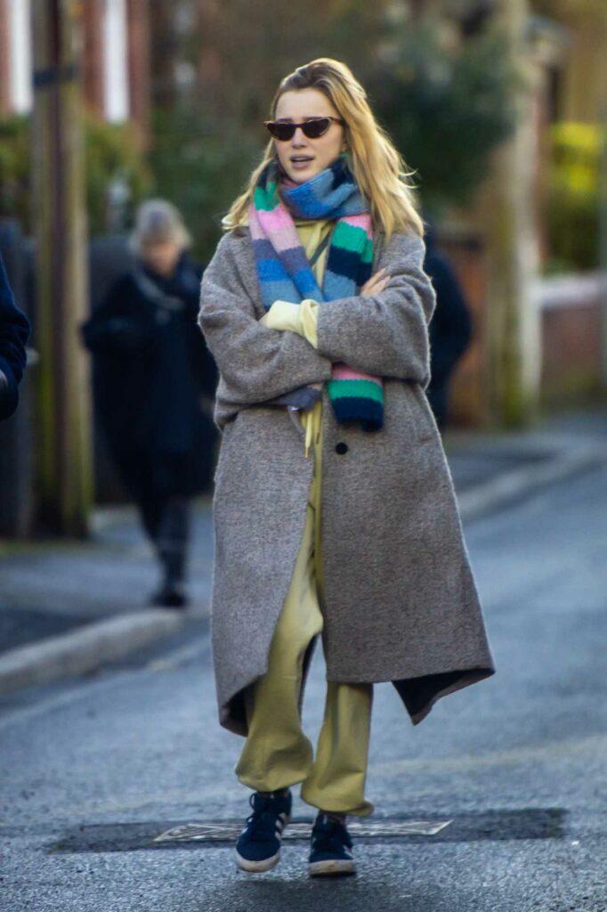 Phoebe Dynevor in a Grey Coat