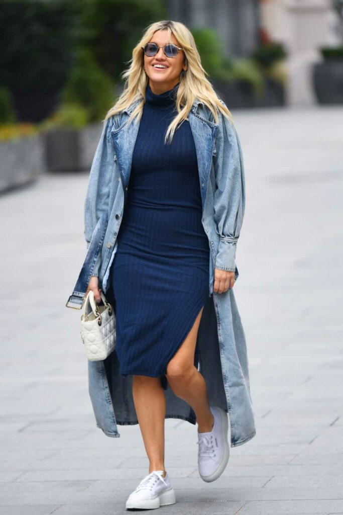 Ashley Roberts in a Blue Denim Trench Coat