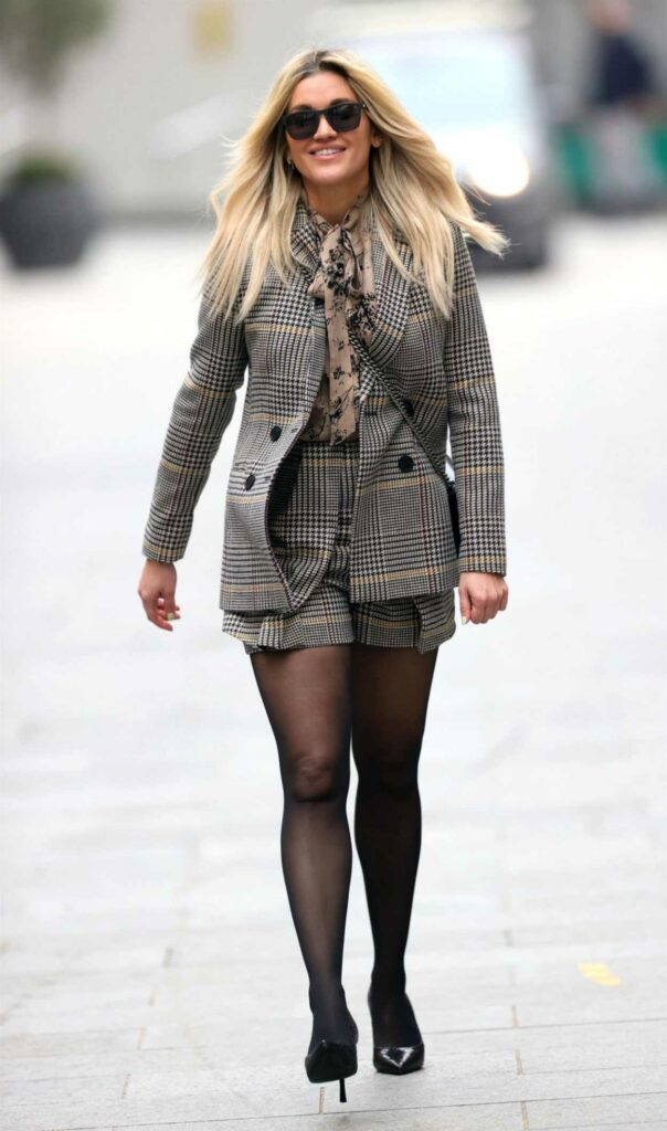Ashley Roberts in a Grey Shorts Suit