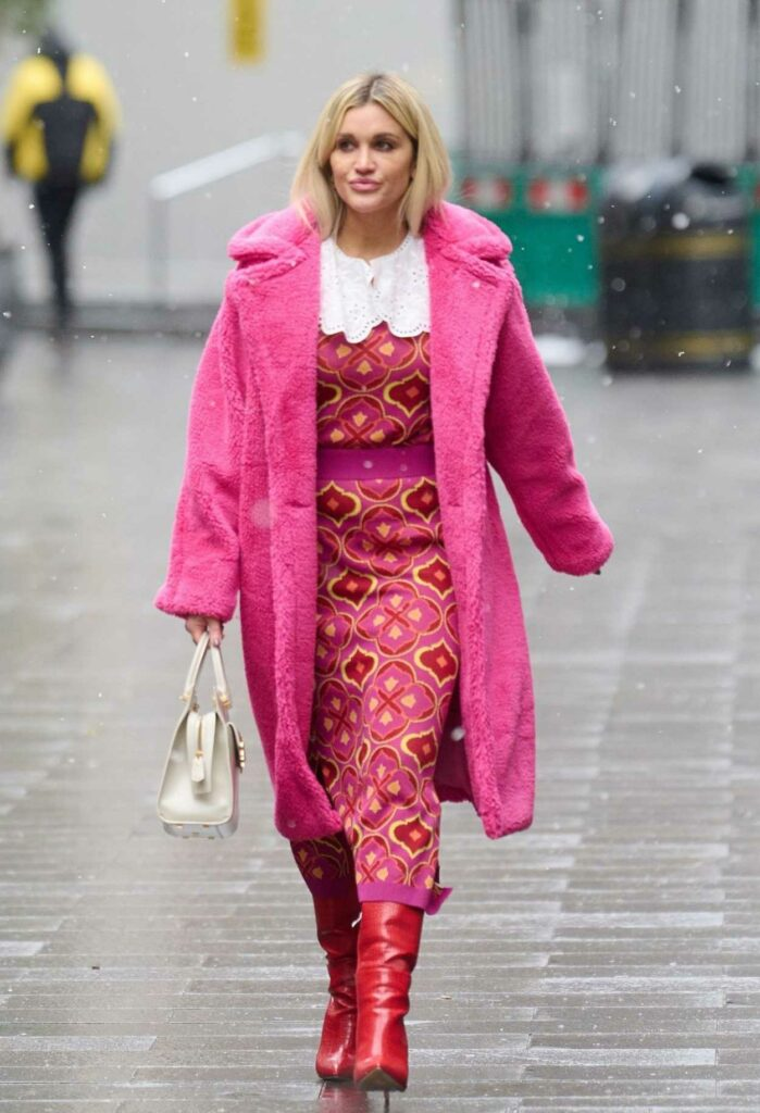 Ashley Roberts in a Pink Faux Fur Coat