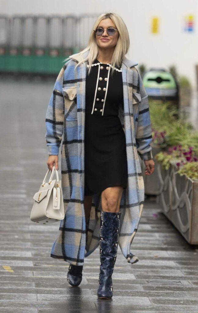 Ashley Roberts in a Plaid Coat