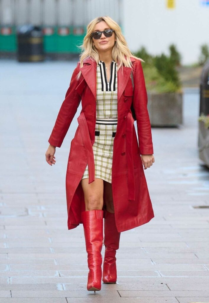Ashley Roberts in a Red Leather Trench Coat