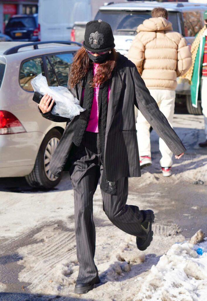 Bella Hadid in a Black Knit Hat