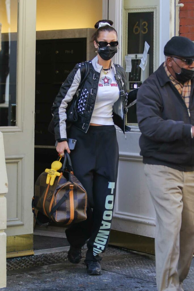 Bella Hadid in a Black Sweatpants