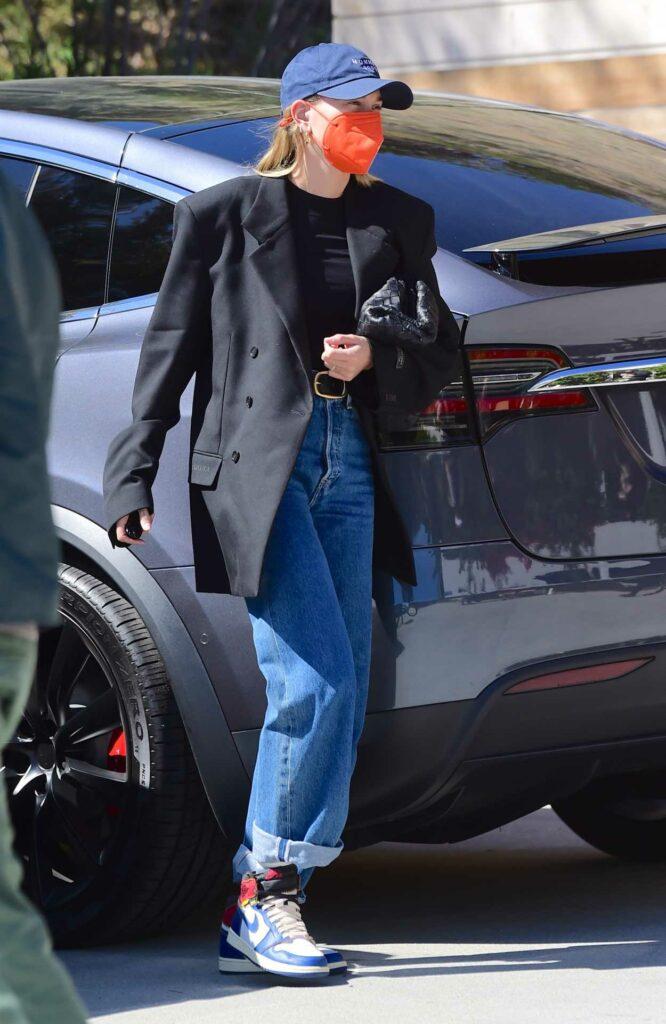 Hailey Bieber in a Black Oversized Blazer