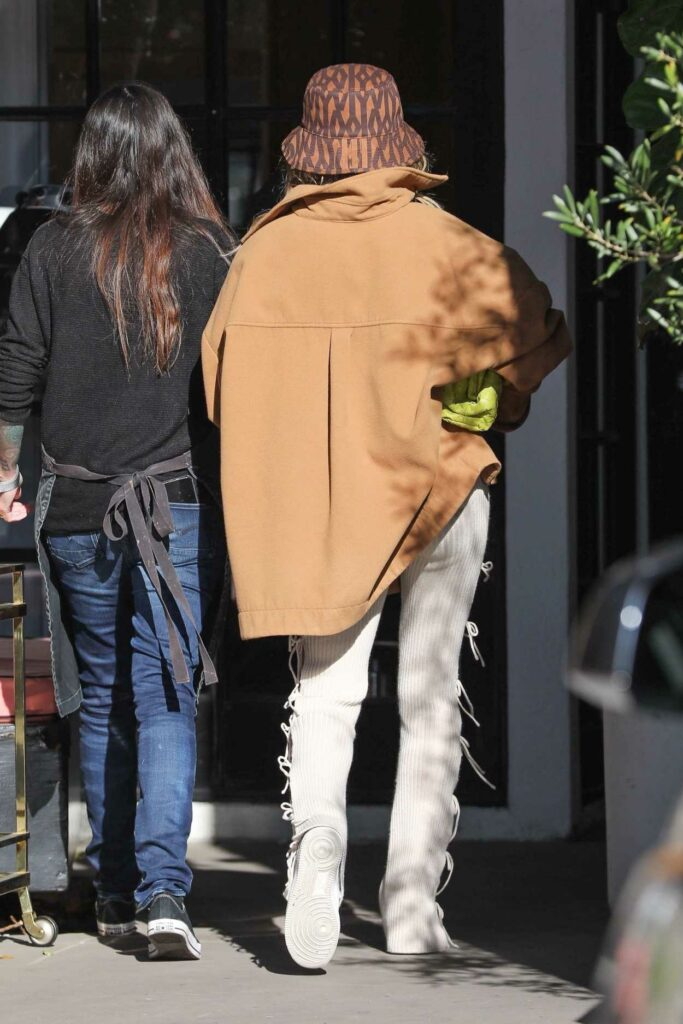Hailey Bieber in a White Sneakers
