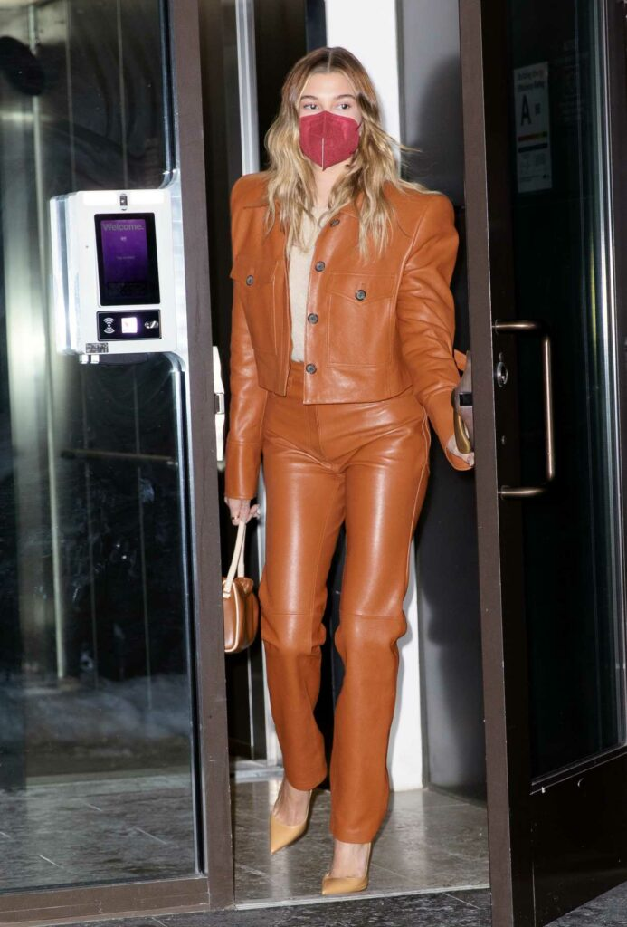 Hailey Bieber in an Tan Leather Suit