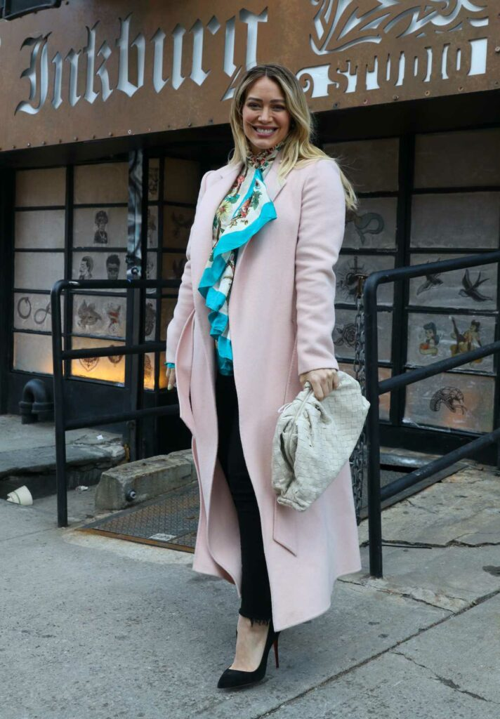 Hilary Duff in a Pink Coat