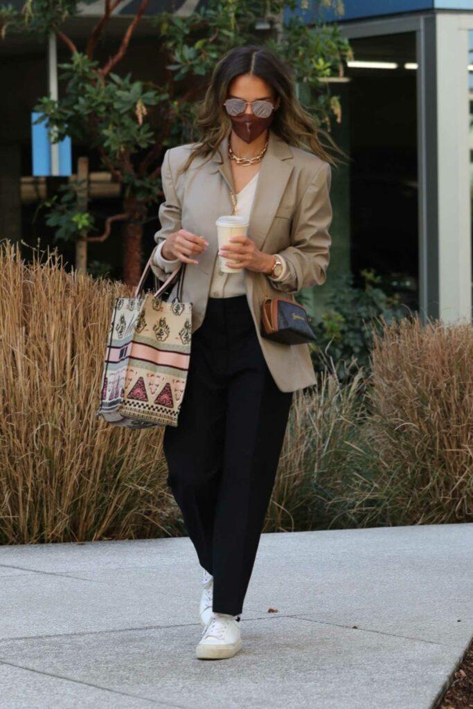 Jessica Alba in a Beige Blazer