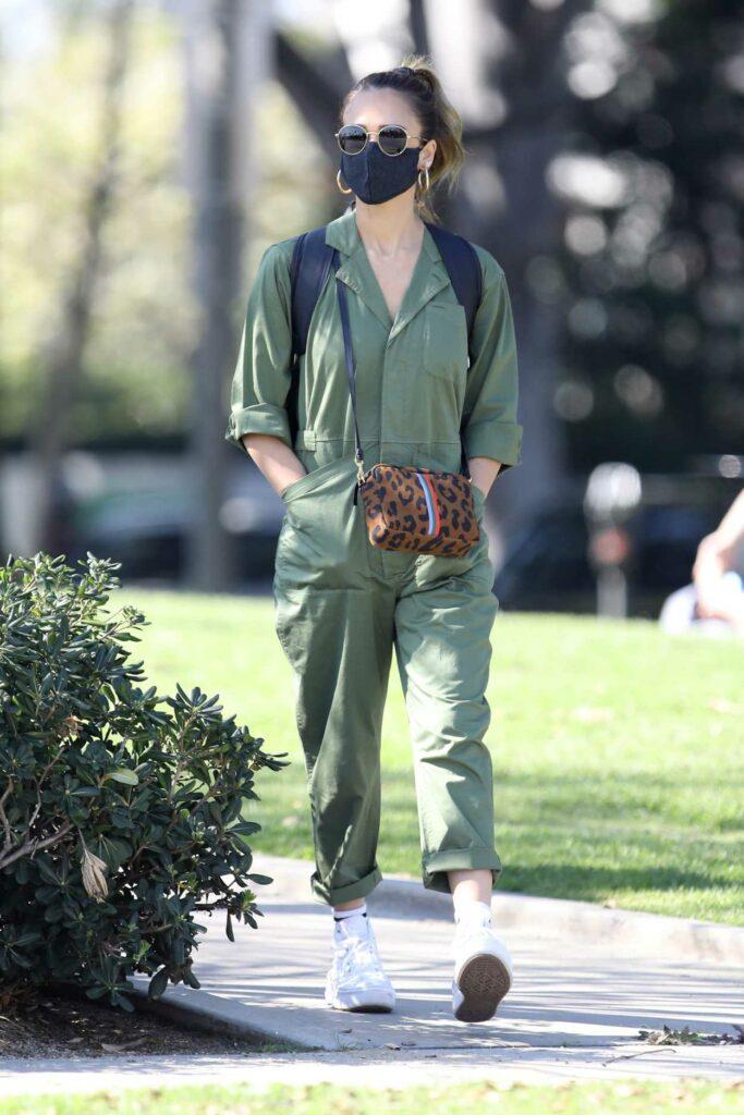 Jessica Alba in a Green Jumpsuit
