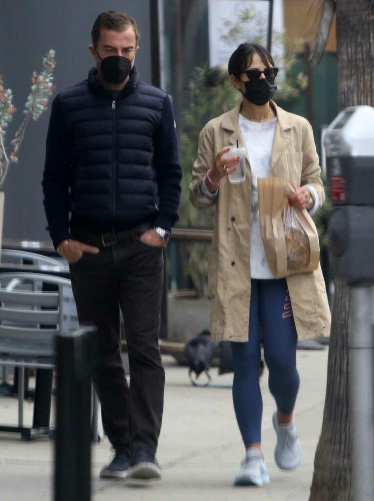 Jordana Brewster in a Black Protective Mask