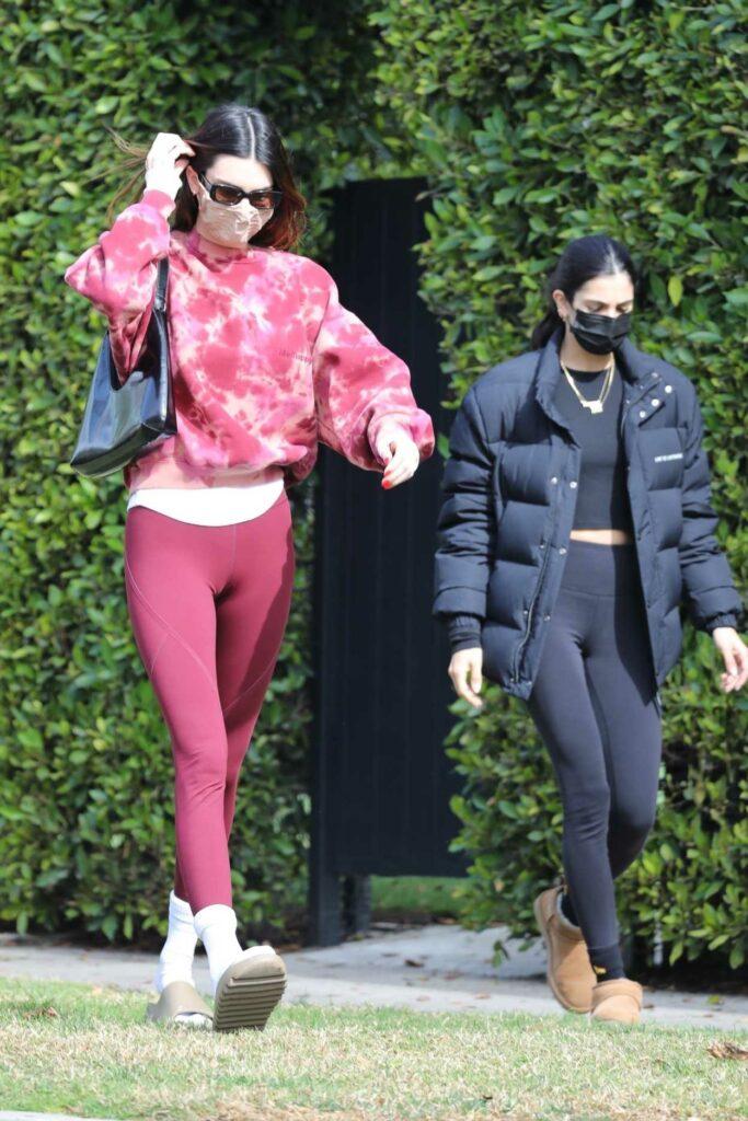 Kendall Jenner in a Pink Tie Dye Sweatshirt