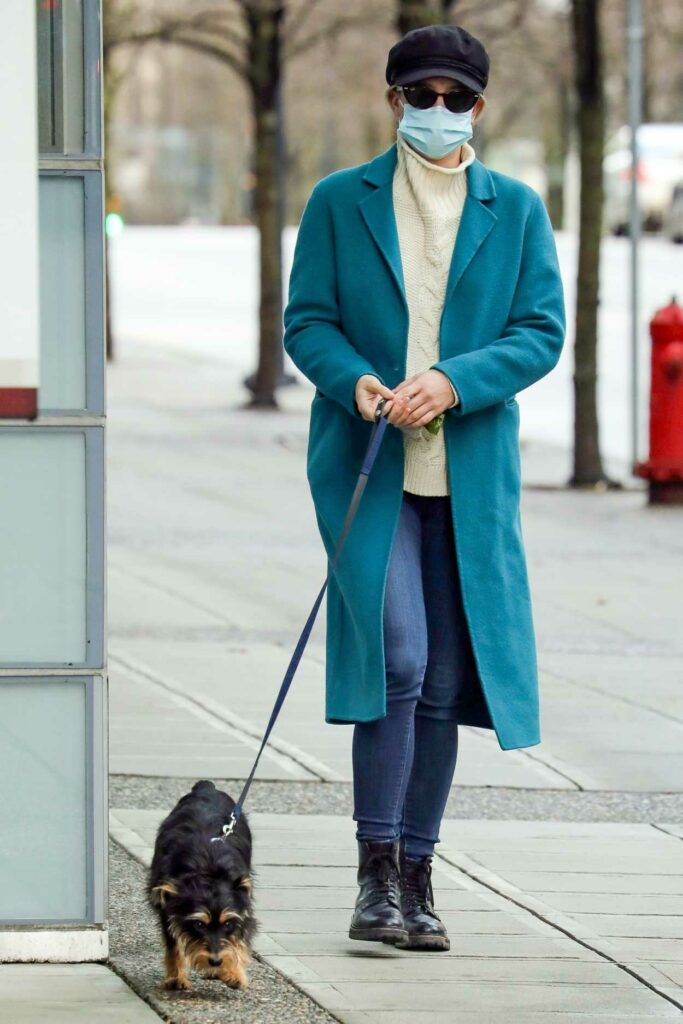 Lili Reinhart in a Light Blue Coat
