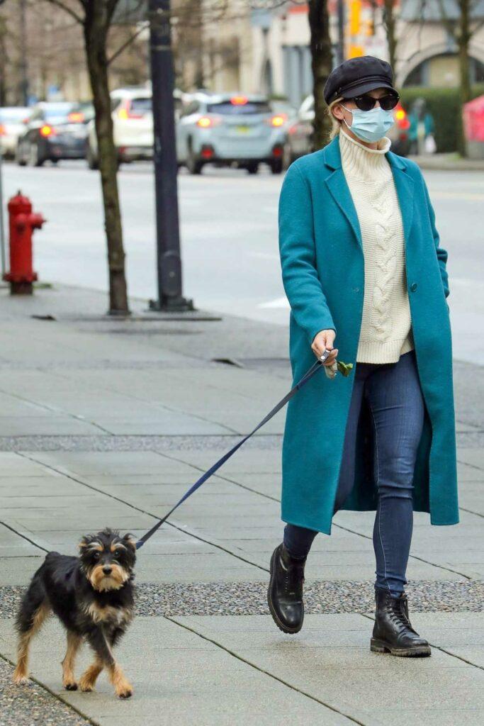 Lili Reinhart in a Light Blue Coat
