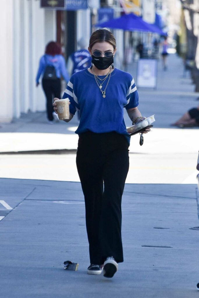 Lucy Hale in a Blue Tee