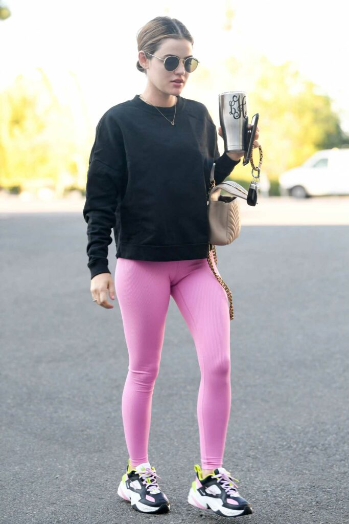 Lucy Hale in a Pink Leggings