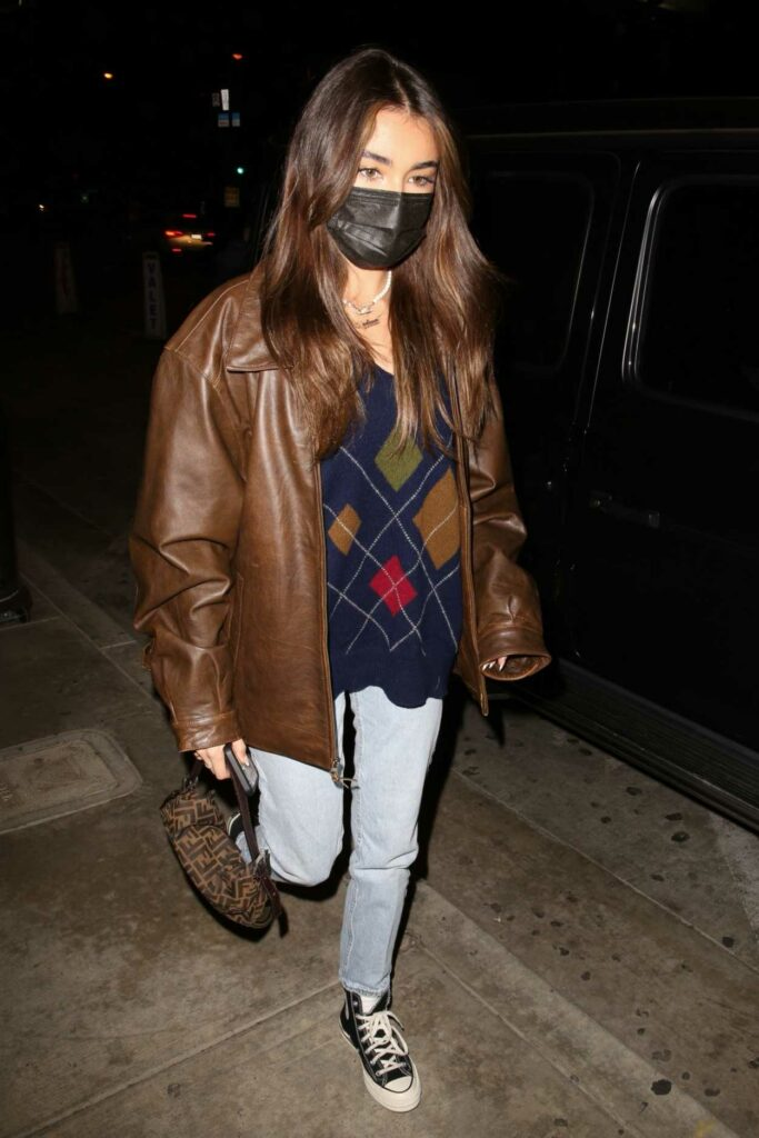 Madison Beer in a Brown Leather Jacket