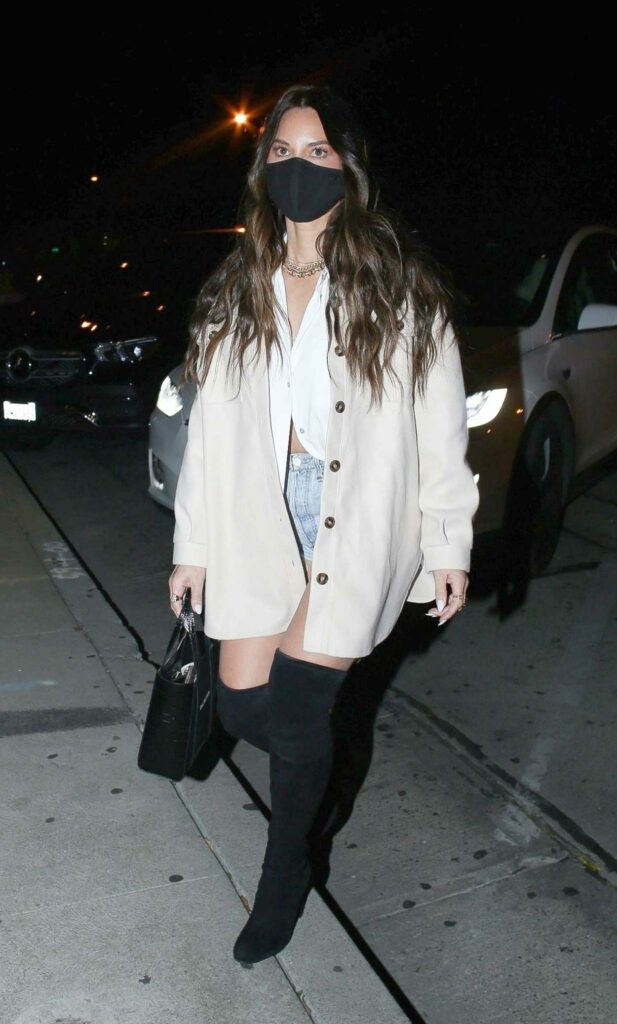 Olivia Munn in a Black Protective Mask