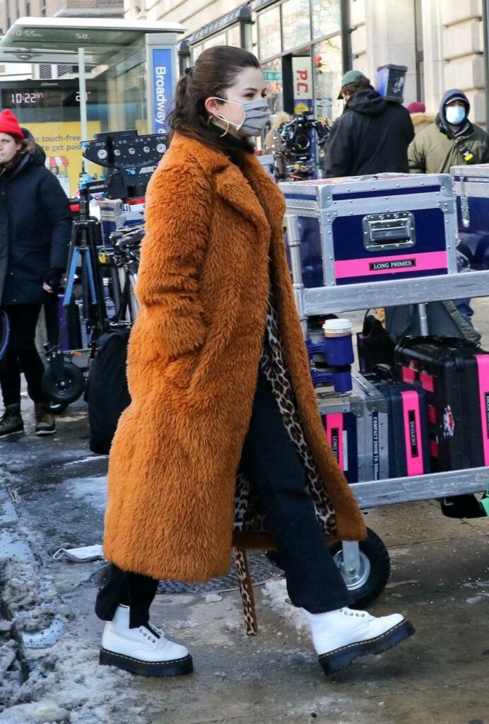 Selena Gomez in a White Boots on the Set of the Only Murders in the Building TV Series in New York City 02/20/2021