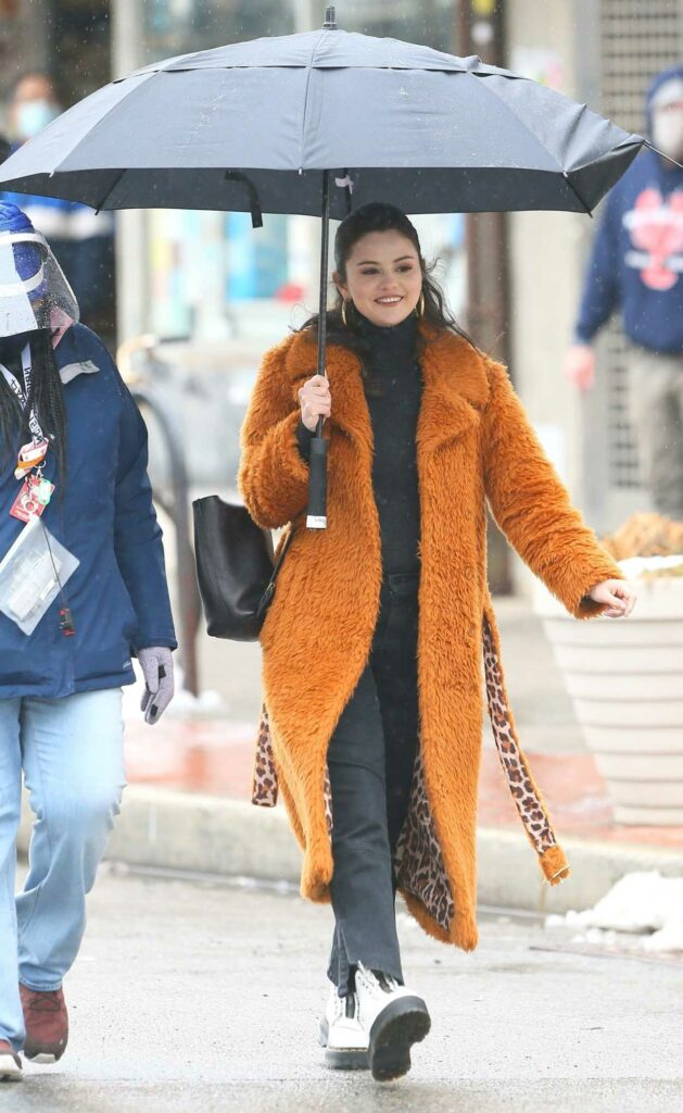Selena Gomez in an Orange Fur Coat
