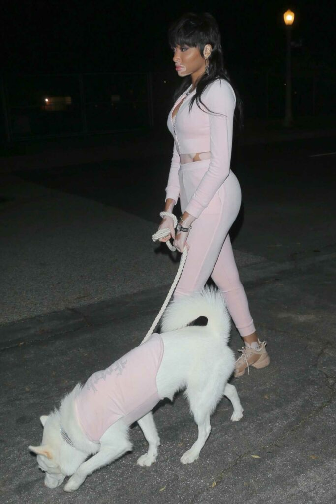 Winnie Harlow in a Pink Outfit