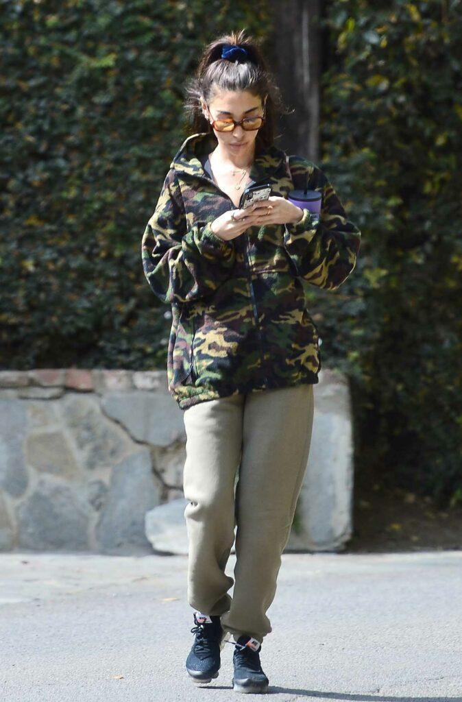 Chantel Jeffries in a Camo Sweatshirt