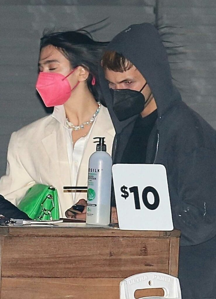 Dua Lipa in a Pink Protective Mask
