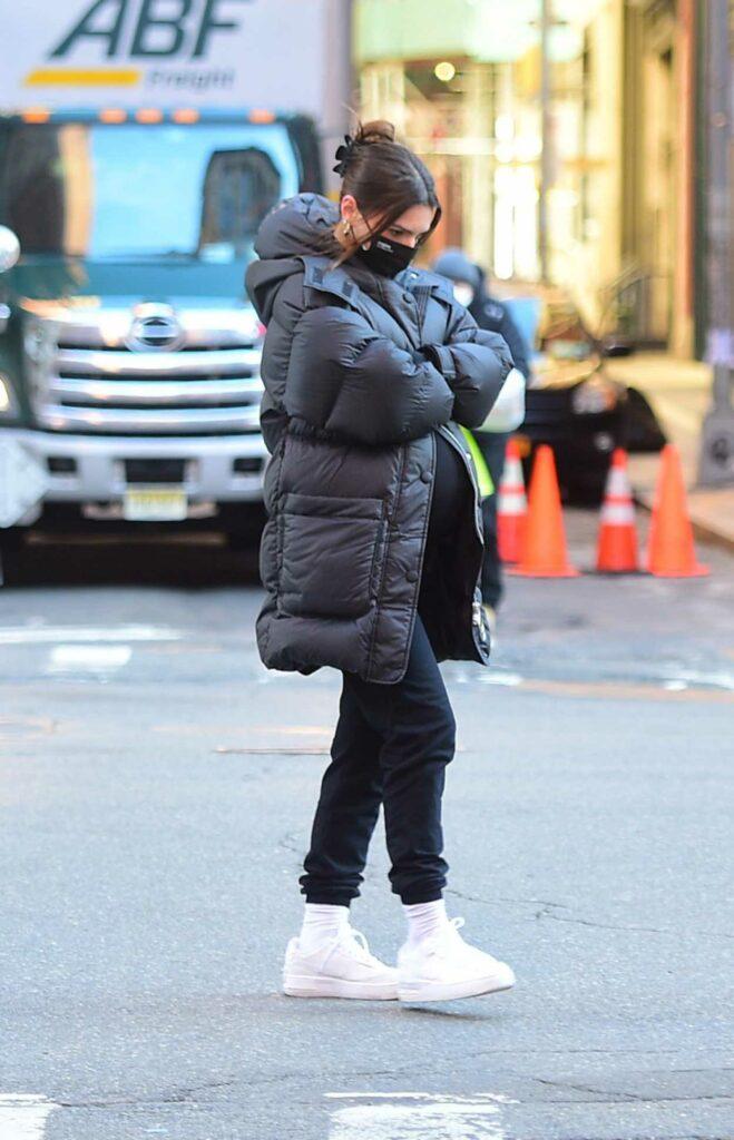 Emily Ratajkowski in a Black Puffer Coat