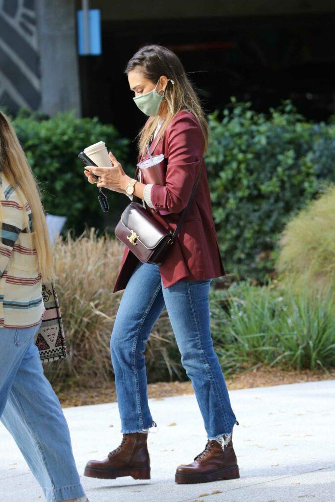 Jessica Alba in a Red Blazer