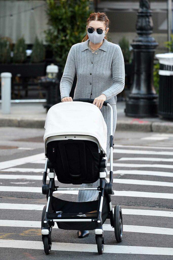 Gigi Hadid in a Grey Suit