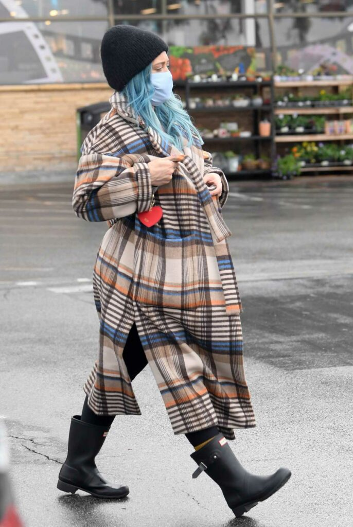 Hilary Duff in a Plaid Coat