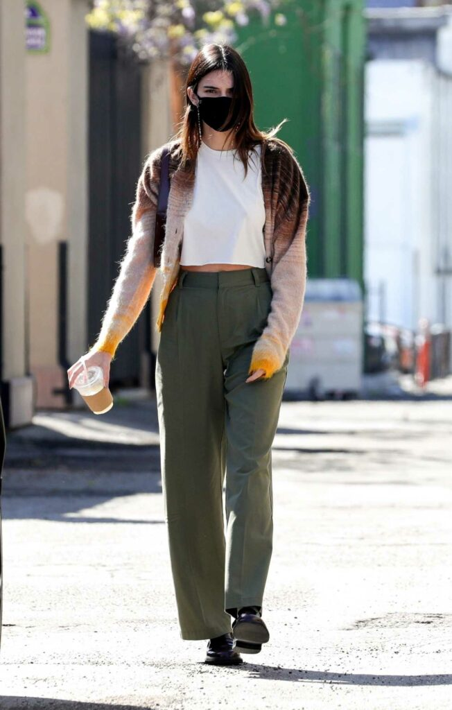 Kendall Jenner in an Olive Pants