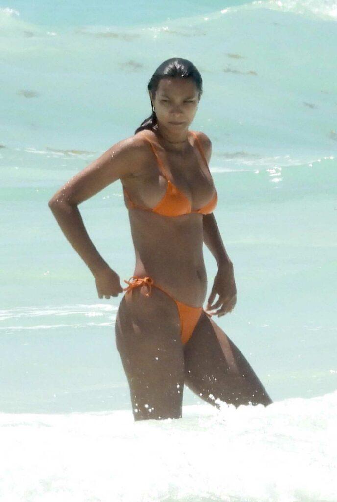 Lais Ribeiro in an Orange Bikini
