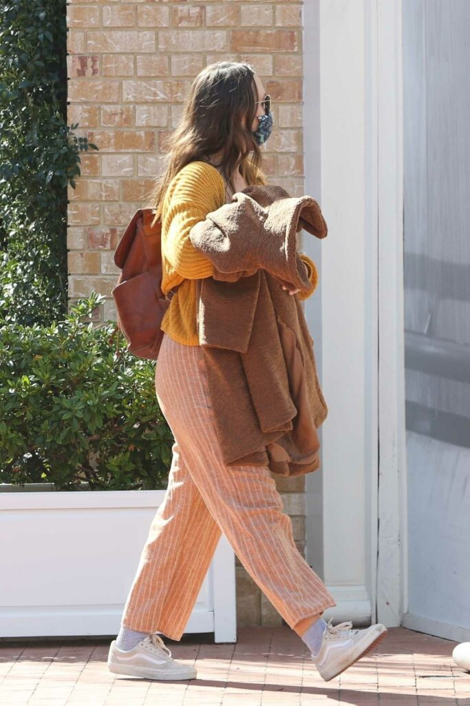 Leighton Meester in a Yellow Cardigan