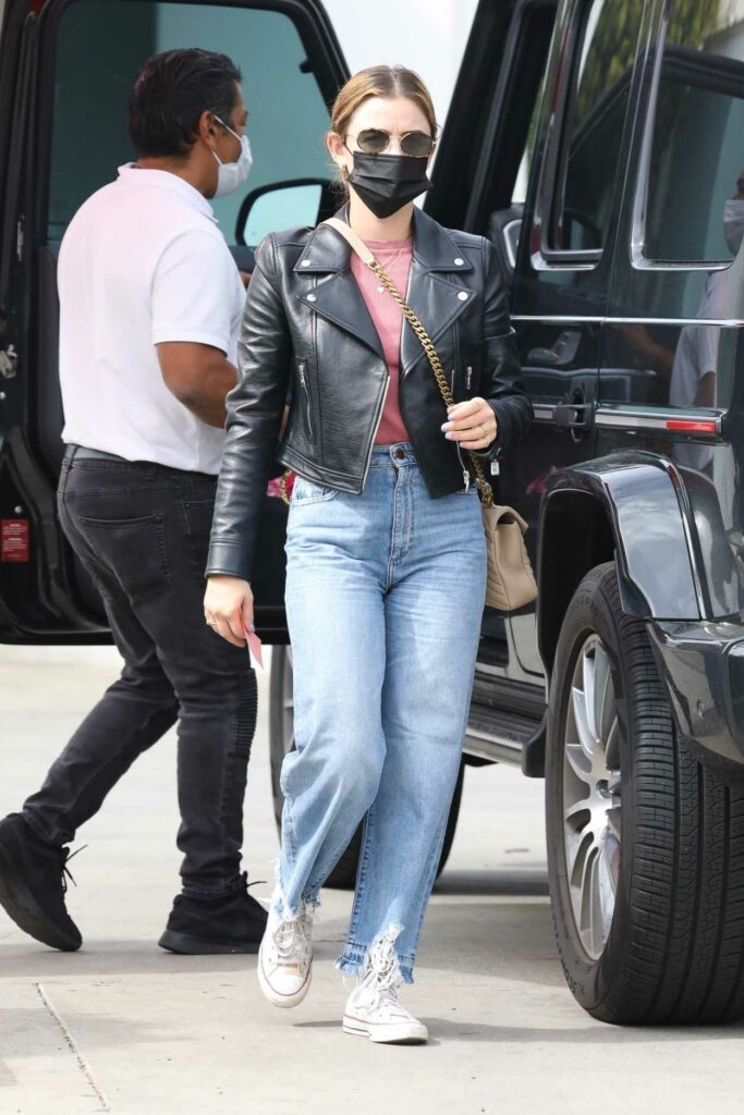 Lucy Hale in a Black Leather Jacket