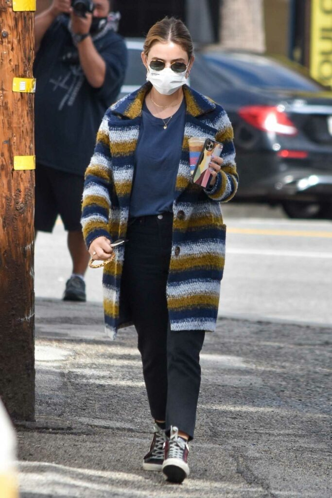 Lucy Hale in a Striped Coat