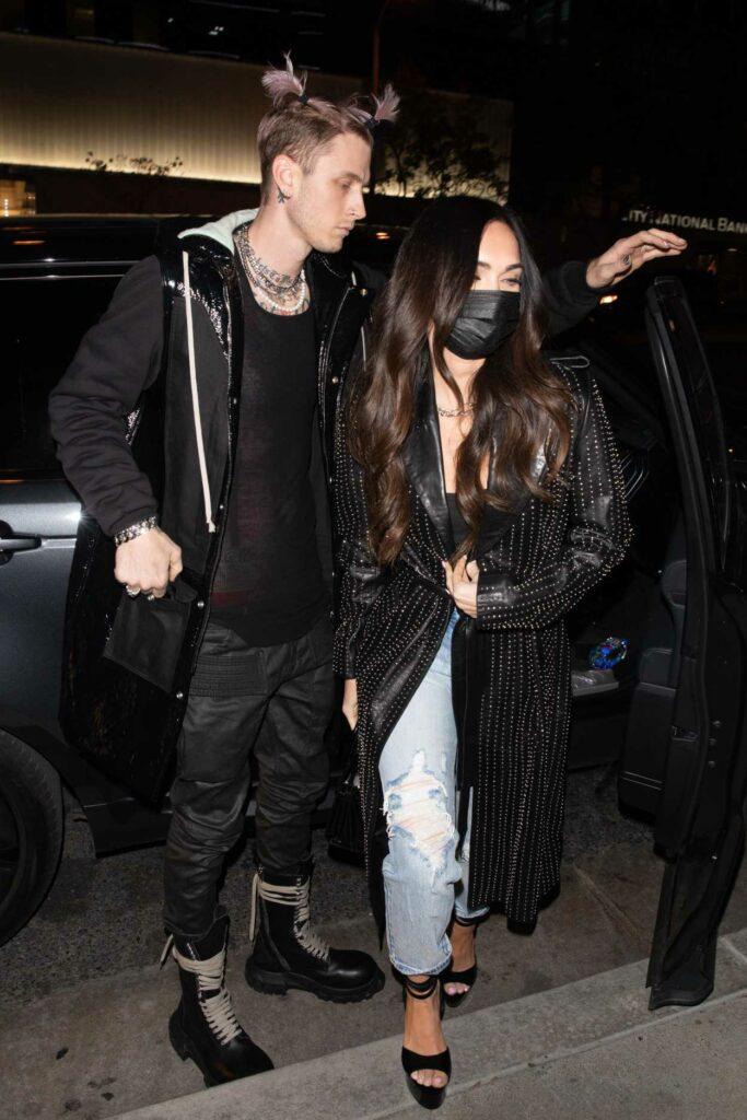 Megan Fox in a Black Leather Coat