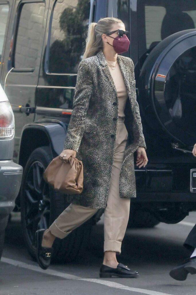 Sofia Richie in a Grey Animal Print Coat