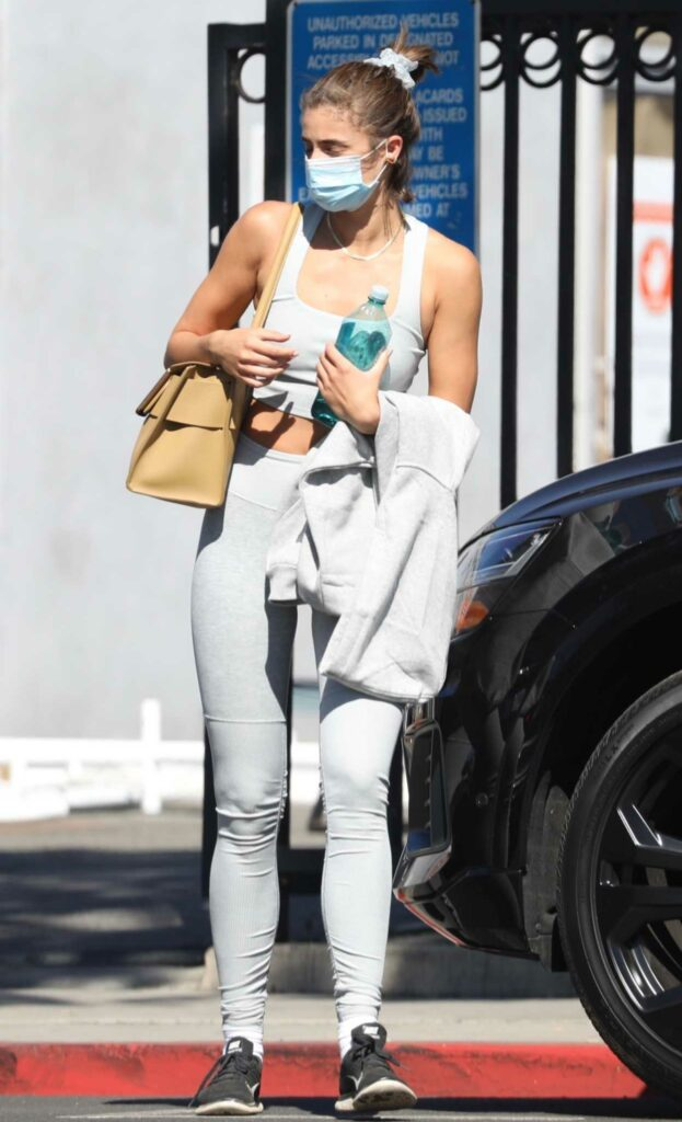 Taylor Hill in a Grey Sports Bra