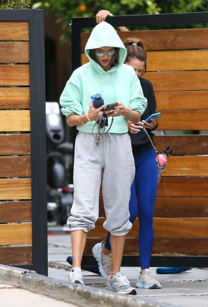 Alessandra Ambrosio in a Grey Sweatpants