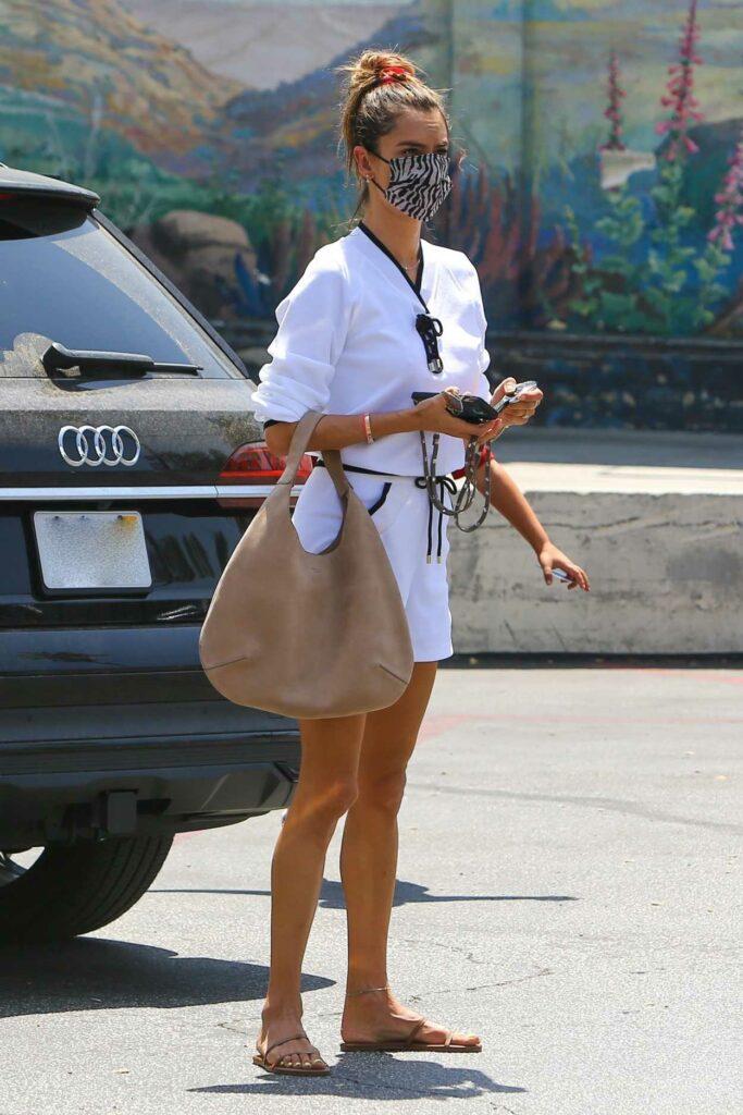 Alessandra Ambrosio in a White Shorts