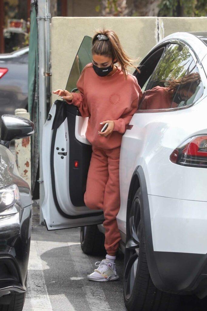 Chantel Jeffries in a Red Sweatsuit