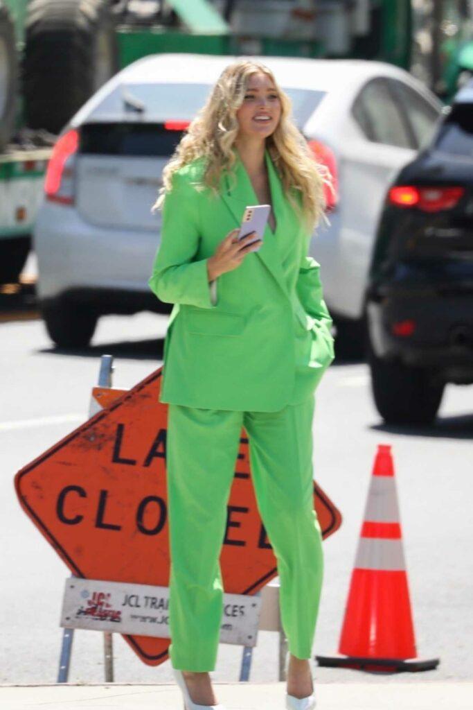 Elsa Hosk in a Green Pantsuit