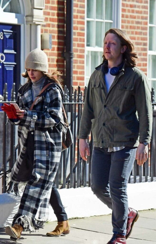 Emilia Clarke in a Plaid Coat