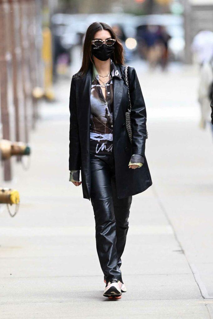Emily Ratajkowski in a Black Leather Outfit