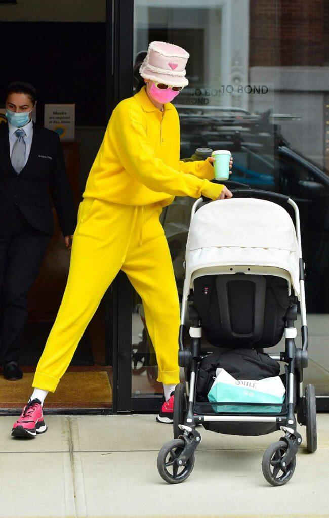 Gigi Hadid in a Yellow Sweatsuit