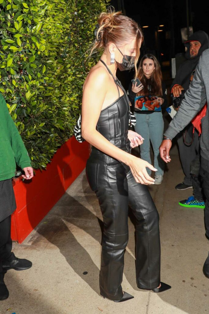 Hailey Bieber in a Black Leather Outfit