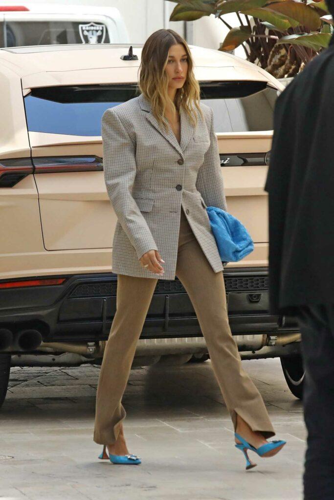 Hailey Bieber in a Grey Blazer