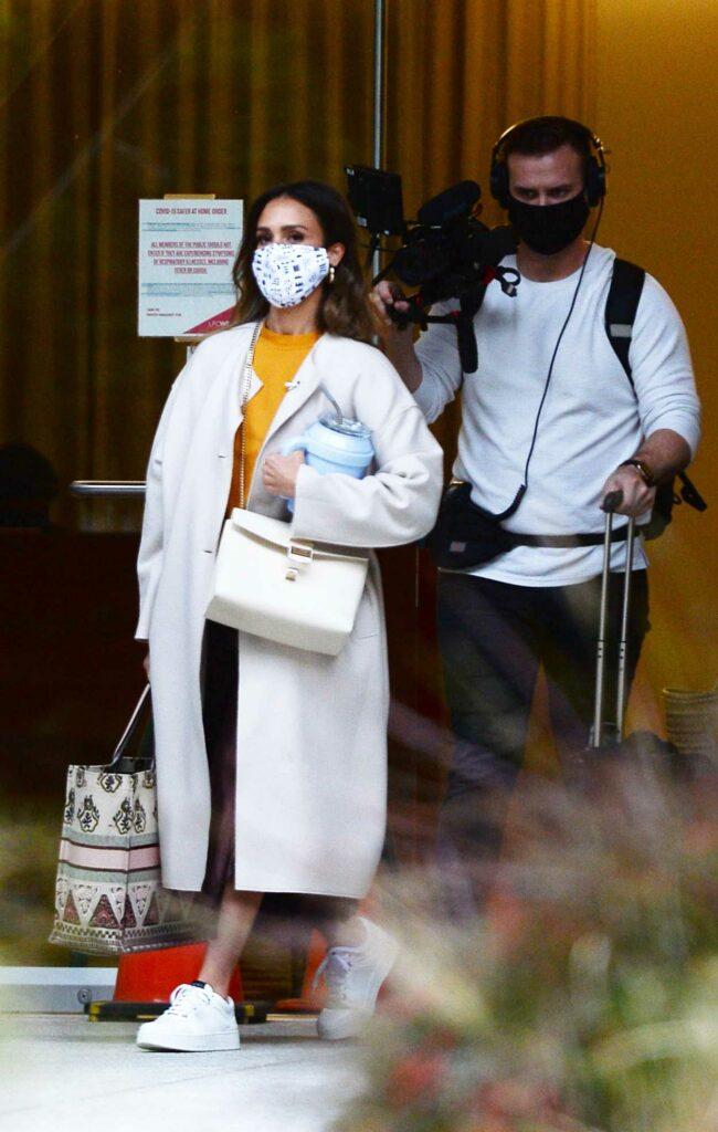 Jessica Alba in a White Coat