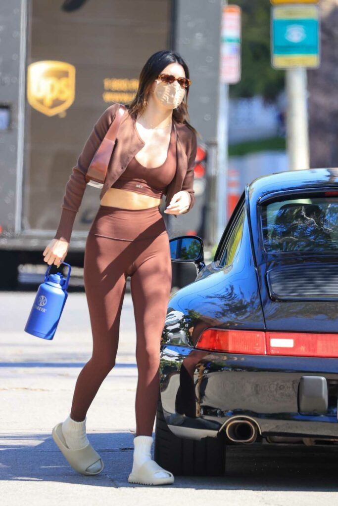 Kendall Jenner in a Brown Workout Ensemble